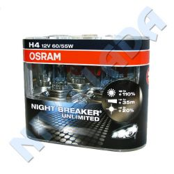 Лампа H4 Osram 60/55+110% (64193 NBU) Night Breaker Unlimited (2шт) EuroBox